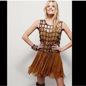 Free People Coffee Gold Copper Sequin Shell Dress